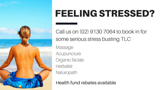 Feeling Stressed? Book in a stress relieving massage, acupuncture or organic facial. Our herbalist and naturopath can do video consultations anywhere in Australia.