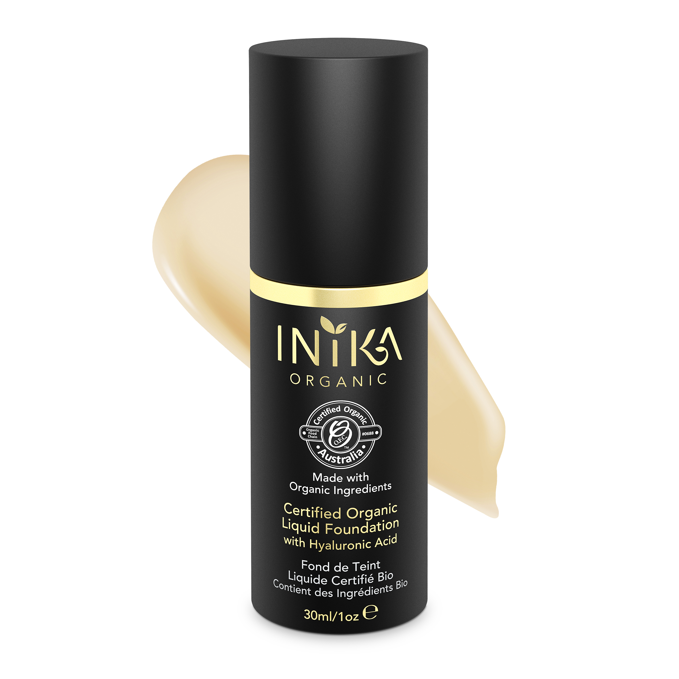 INIKA Certified Organic Liquid Foundation Cream 30ml With Product