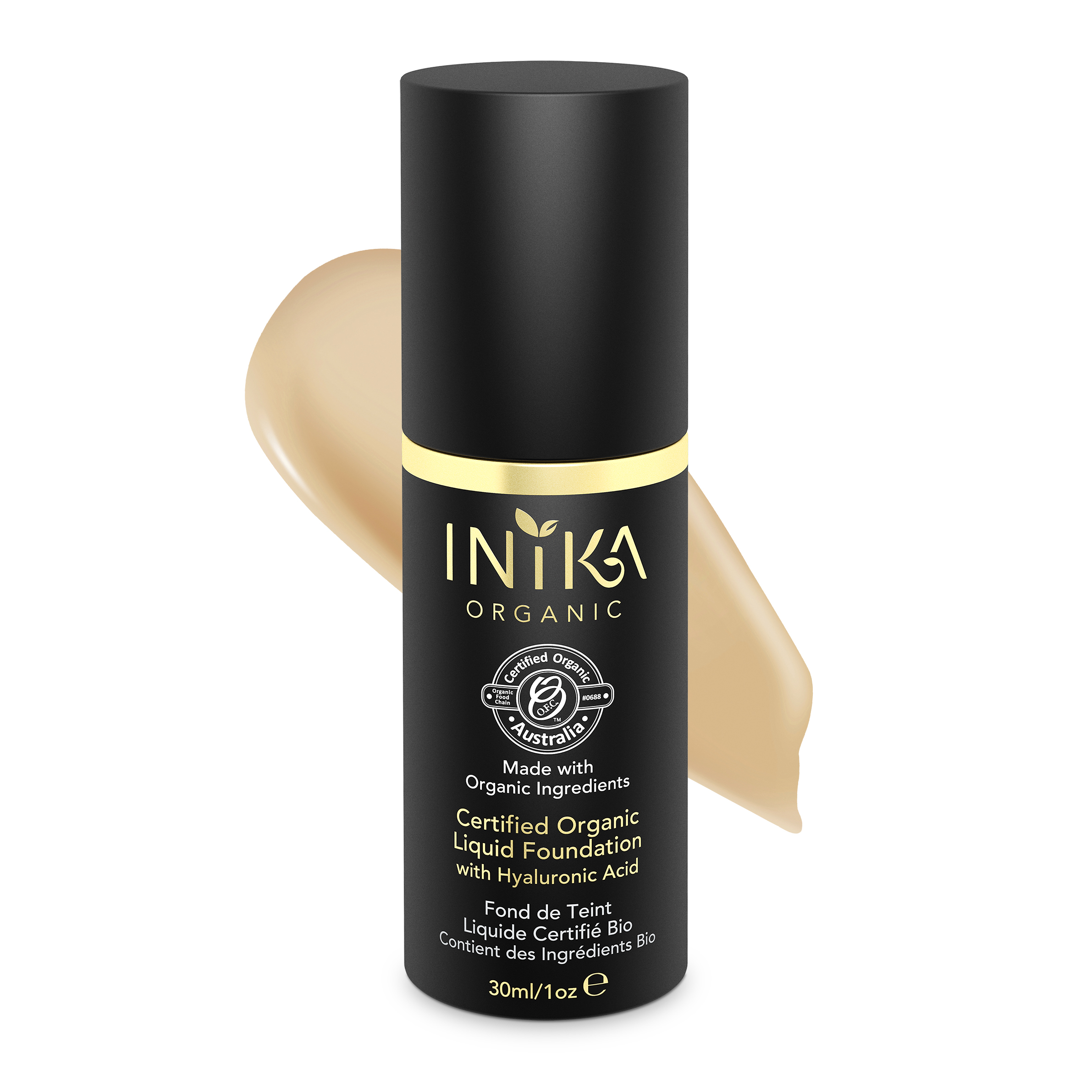 INIKA Certified Organic Liquid Foundation Honey 30ml With Product
