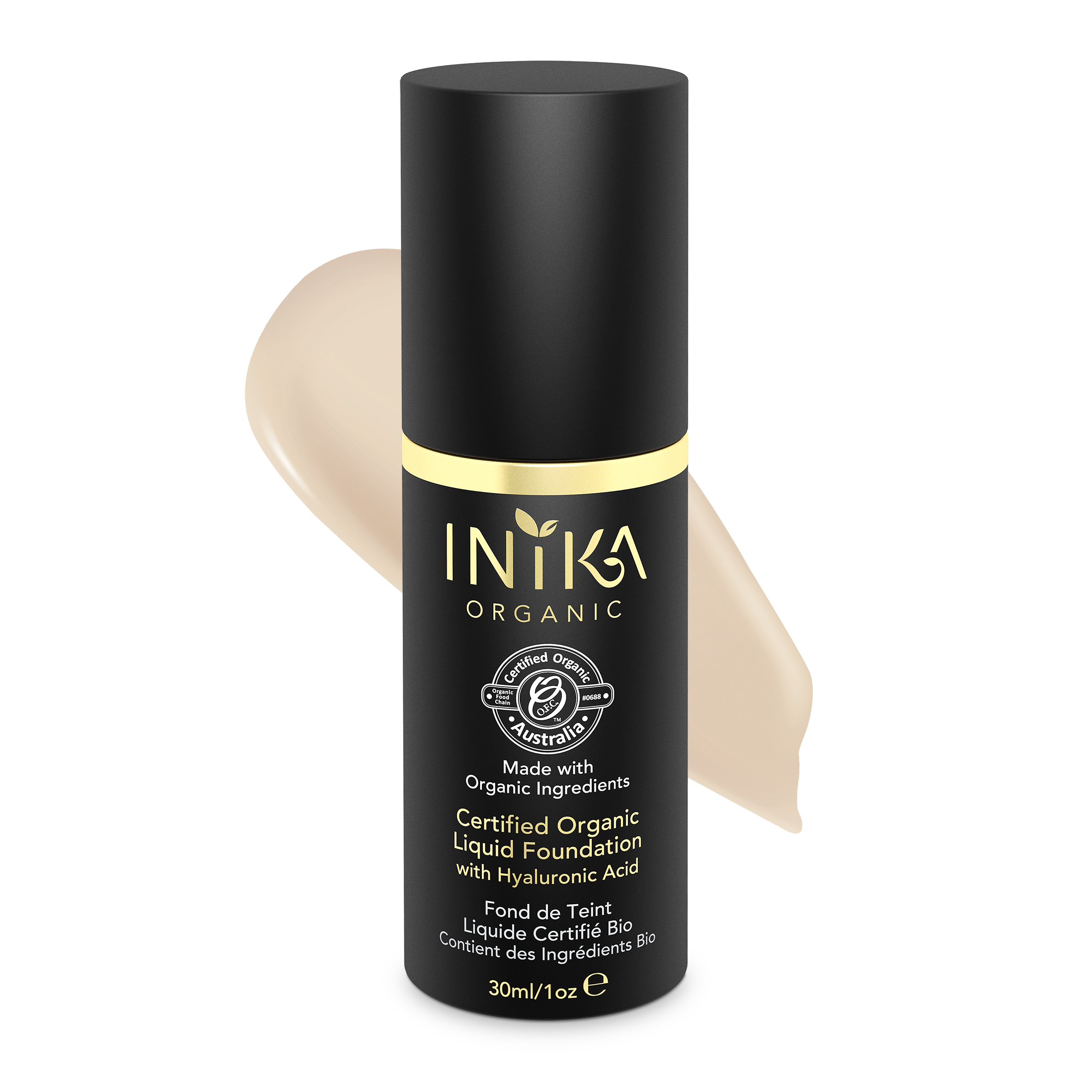 INIKA Certified Organic Liquid Foundation Porcelain 30ml With Product