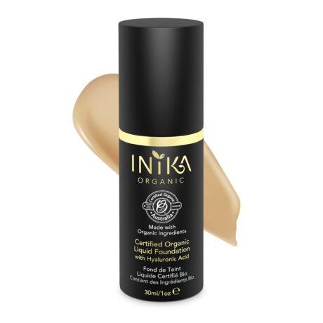 INIKA Certified Organic Liquid Foundation Tan 30ml With Product