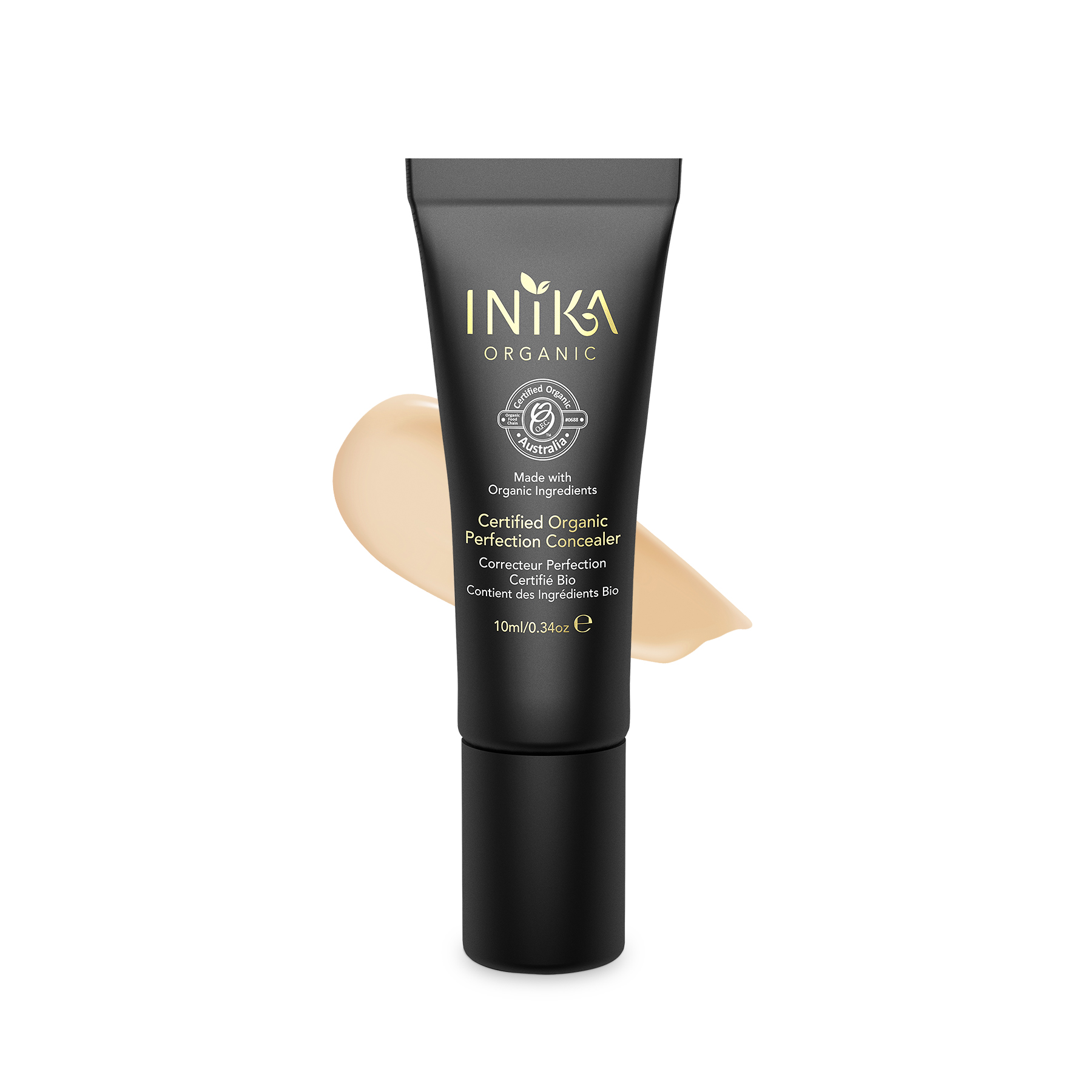 INIKA Certified Organic Perfection Concealer Medium 10ml With Product